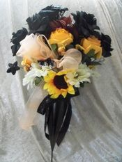 Motorcycle Enthusiast Cemetery Flowers.  Unique Cemetery Floral Decor paying tribute to the Harley Davidson lover or motorcycle enthusiast.  Has a motorcylce ornament attached.