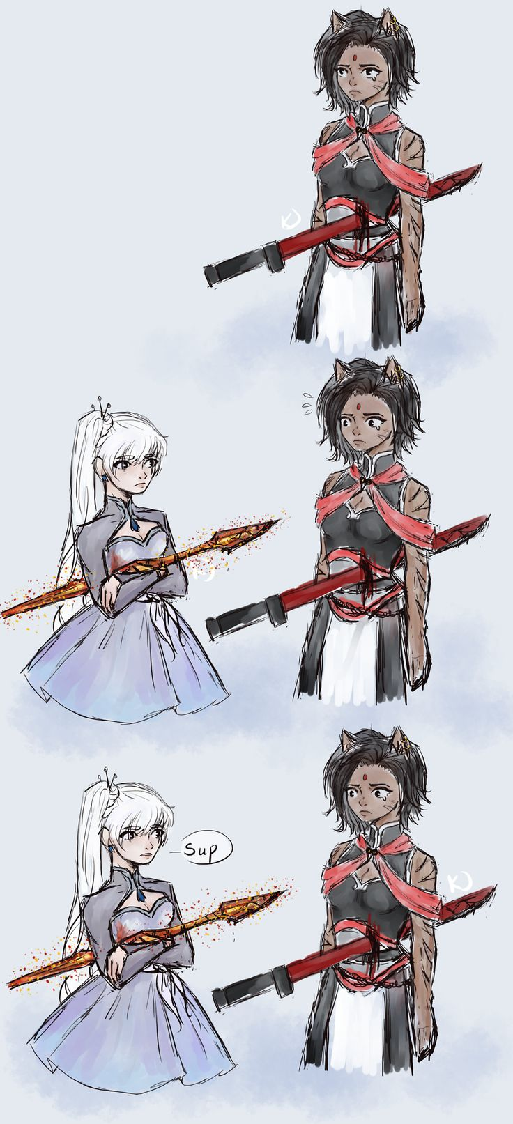 RWBY volume 5: Everyone gets stabbed ok but come on she isn't going to die relax,,,,but she might get a scar tho,,,