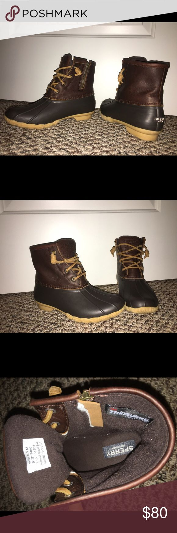 Women's Sperry Saltwater Duck Boot 5.5 M Tan/Dark Brown. Women's size 5.5 M. In great condition. Only worn twice for a short period of time. Very comfortable. They are too small for me. I had to order another size. Sperry Shoes Winter & Rain Boots