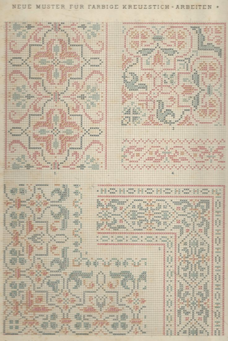 1 / Blatt 5 - Neue Muster-Vorlagen Fur Farbige Kreuzstich-Arbeiten - A. Scheffers - Published by J. M. Gebhardt's Verlag, Leopold Gebhardt, 1887