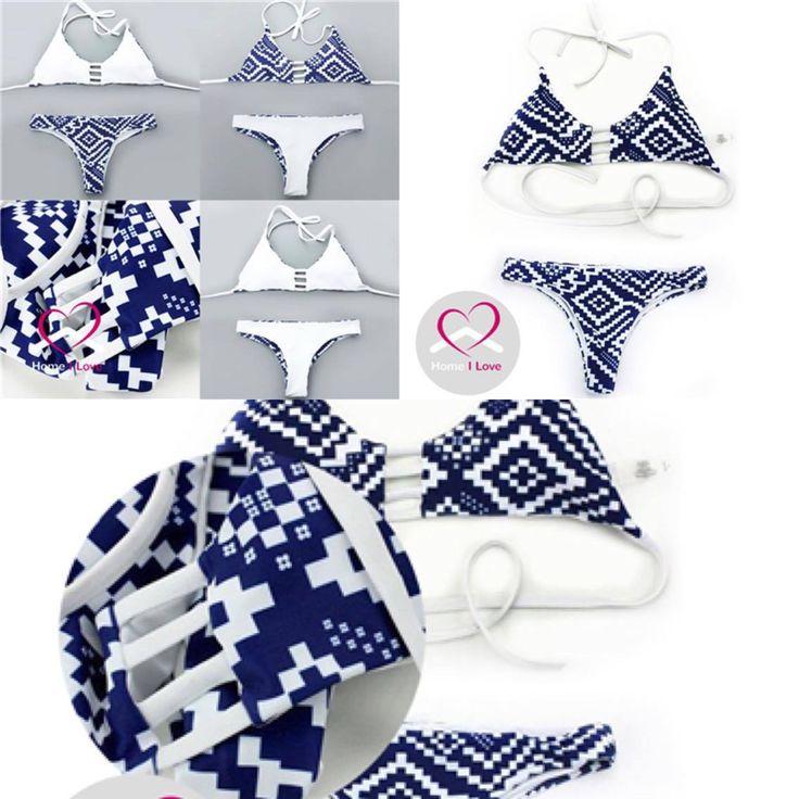 New Reversible White/Blue Print Bikini Sexy Brazilian Cut Triangle Style Size M #bikini #swimwear #summer #love #swim #beach #style #online #store.