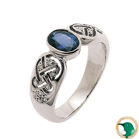 Our Celtic ring in 18ct white gold with x14 diamonds (TDW .07ct) and one Ceylon Sapphire gemstone.