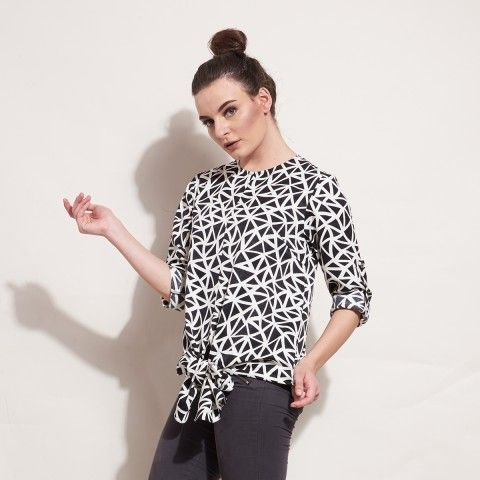 DAHAYU BLOUSE Black & White Ribbon