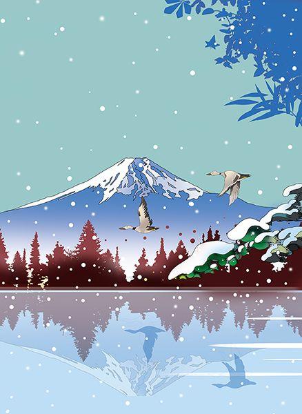 和風イラスト 風景イラスト 富嶽100景 世界遺産 富士山 逆さ富士