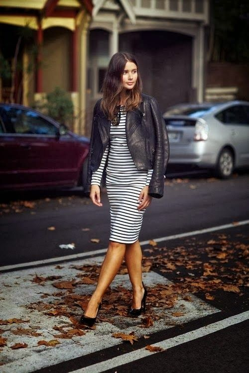 striped dress, leather cropped jacket, simple and trendy