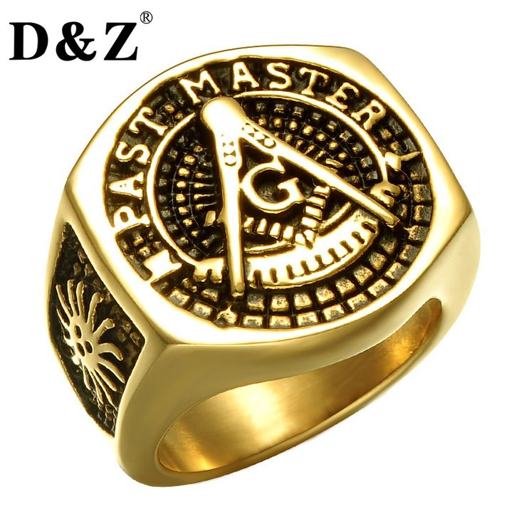 D&Z Vintage Religion Masonic Men Ring Gold Color 316L Stainless Steel Freemasonry Masonic Rings Jewelry  #Affiliate