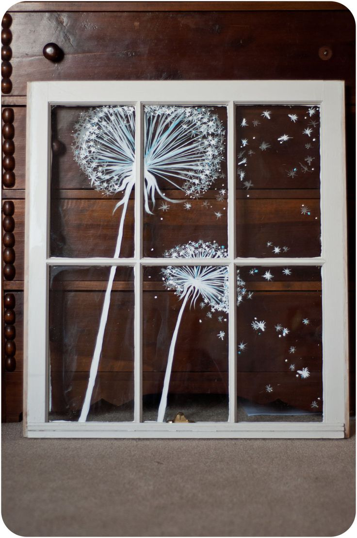 Christmas window painting decorations - Lovely Vintage Window Painting Dandelion By Audreygracephoto