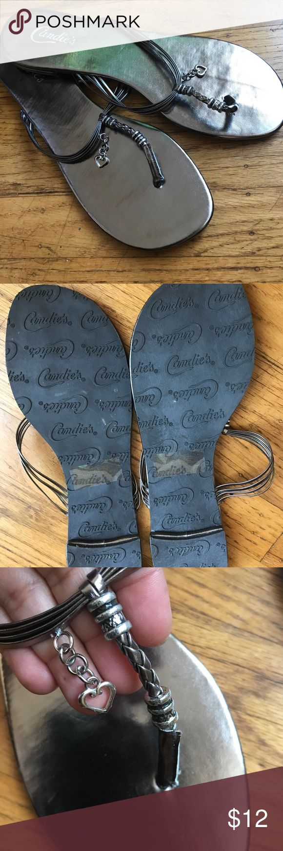 Candie's Pewter Sandals Cute dangling jewel design pewter colored sandals perfect to wear with dresses/skirts, shorts or jeans!! /NEW/Never worn Candie's Shoes Sandals