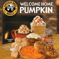Pumpkin Is Back Celebration Coupons At Einstein Bagels