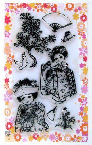 "Japan girl in Kimono // Clear stamps pack (4""x7"") FLONZ Flonz http://smile.amazon.com/dp/B00DKJ74OS/ref=cm_sw_r_pi_dp_nGttub1S6BNW5"