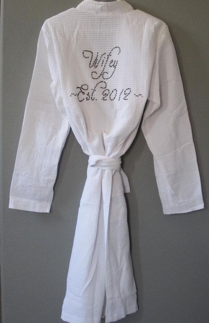 Wedding Robe, Wedding Party Favors,Personalized Bridesmaid Gifts, Maid of Honor Gifts, Mother of the Bride Gifts, Bejeweled Wedding Robe. $35.00, via Etsy.