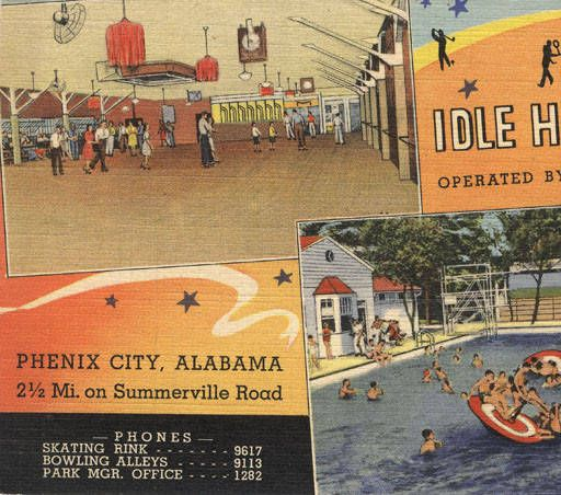 """""""Idle Hour Park, operated by Martin Theatres. Phenix City, Alabama, 2 1/2 Mi. on Summerville Road."""" :: Alabama Photographs and Pictures Collection"""