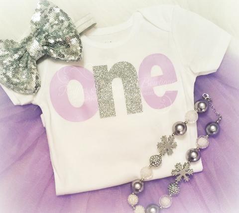 Mauve & Silver One - First Birthday Onesie - Baby Girl