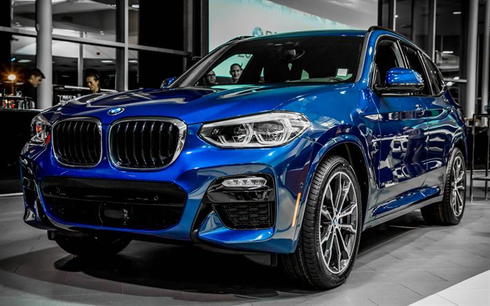 Download wallpapers BMW X3, 2018 cars, blue X3, crossovers ...