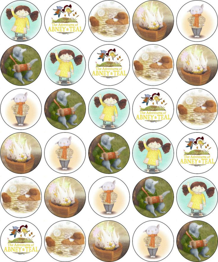 ABNEY AND TEAL BIRTHDAY PARTY EDIBLE CUP CAKE TOPPER DECORATIONS - PRINTED ICING