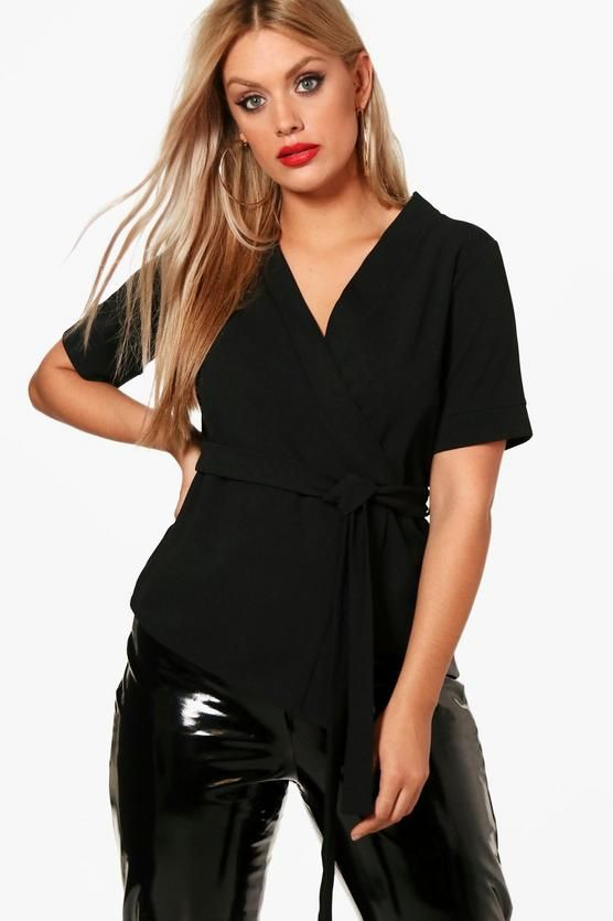 03b89e91aad52 Plus Short Sleeved Wrap Tie Waist Top | Fashion | Tie waist top ...