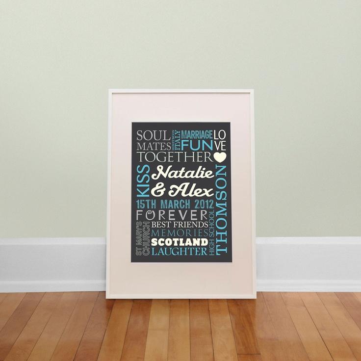Personalised Wedding Gift Print 25 00 Via Etsy