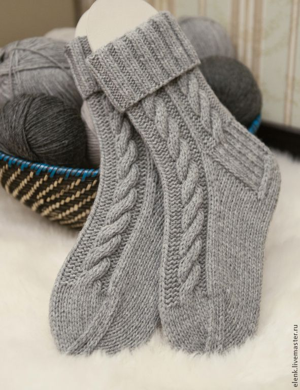 Купить+Носки+вязаные+Village+(серый+меланж)+-+серый,+однотонный,+носки,+носки+вязаные
