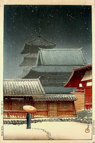 """KAWASE Hasui 川瀬 巴水 (1883-1957) """"Tennoji Temple In Snow"""" - Osaka - 1927"""