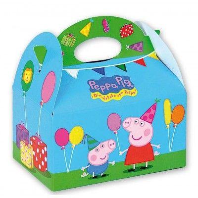 Cajitas de cartón de Peppa Pig para rellenar con chuches y regalitos y entregar a los peques después de la fiesta. http://www.articulos-fiestas-infantiles.es/476-fiesta-de-cumpleanos-de-peppa-pig