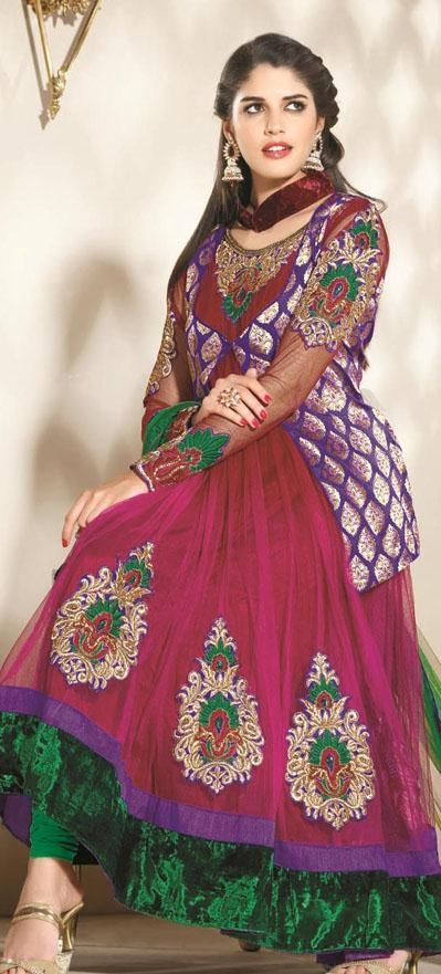 $138.4 Pink Full Sleeve Brocade and Net Long Designer Salwar Kameez 19657