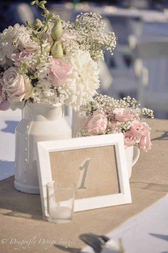 Burlap Wedding Table Numbers, Rustic Outdoor Chic Wedding