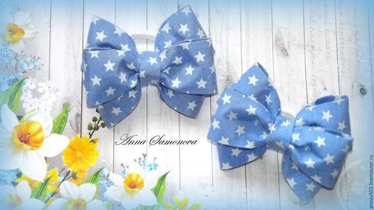 Купить Бантики для волос из плотной джинсы - голубой, сине-белый, бантики для волос, бантики для девочек