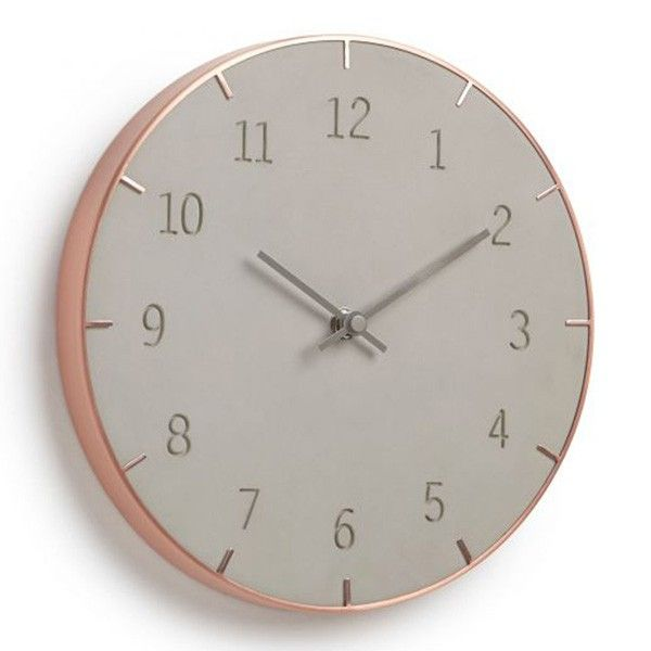 Umbra Piatto Wall Clock - Mix up your materials with this unique concrete and copper clock from Umbra! The Umbra Piatto Wall Clock is a wonderfully unique design which will not fail to impress your guests. Featuring a concrete face with engraved numbers, framed with a deep copper rim, and finished with simple grey hands, the Piatto is a true design delight! Perfect for rustic or industrial kitchen spaces, this sublime copper-concrete blend echoes the current hot trend of mixed materials…