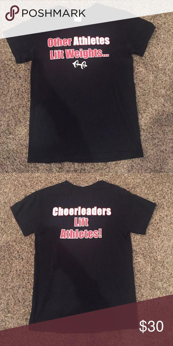 Cheerleader shirt Front and back saying shirt. Funny cheerleader shirt. No stains or snags. Funny and cute. Size small. Tops Tees - Short Sleeve