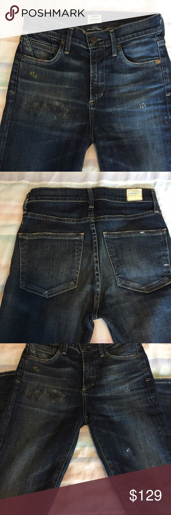 "💥4th of July Sale!💥Citizens of Humanity Jeans COH Premium Vintage Collection high waisted denim jeans with light distressing and red, yellow, and white paint dab detail. Inseam 30"". Bought because I loved them - so cool & unique! - but too long for me. Never worn. Size 25. NWOT. Priced to sell! Citizens Of Humanity Jeans Skinny"