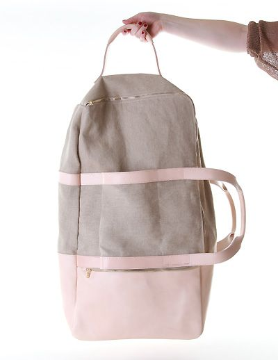 So in LOVE with this pink leather and gray canvas travel bag!!!!!
