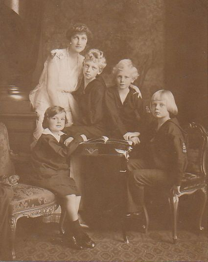 Archduchess Elisabeth Marie of Austria, Princess of Windisch-Grätz and daughter of Crown Prince Rudolf of Austria and Princess Stephanie of Belgium, with her four children; Princess Stephanie, Prince Franz Joseph, Prince Ernest and Prince Rudolph of Windisch-Grätz.