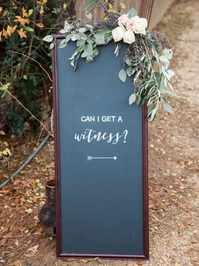 "Rustic ""can I get a witness?"" wedding sign: http://www.stylemepretty.com/little-black-book-blog/2017/01/27/rustic-romantic-georgia-winter-wedding/ Photography: Simply Sarah - http://simplysarah.me/"