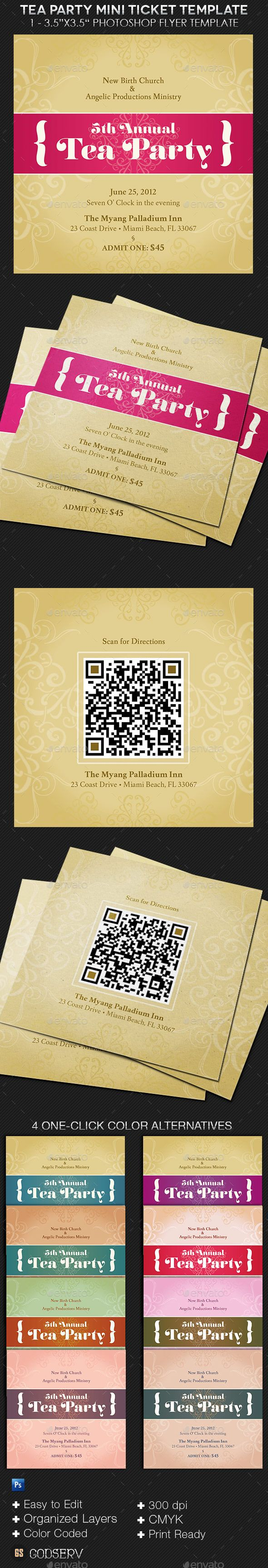 business party invitation letter templates%0A Tea Party Mini Ticket Template