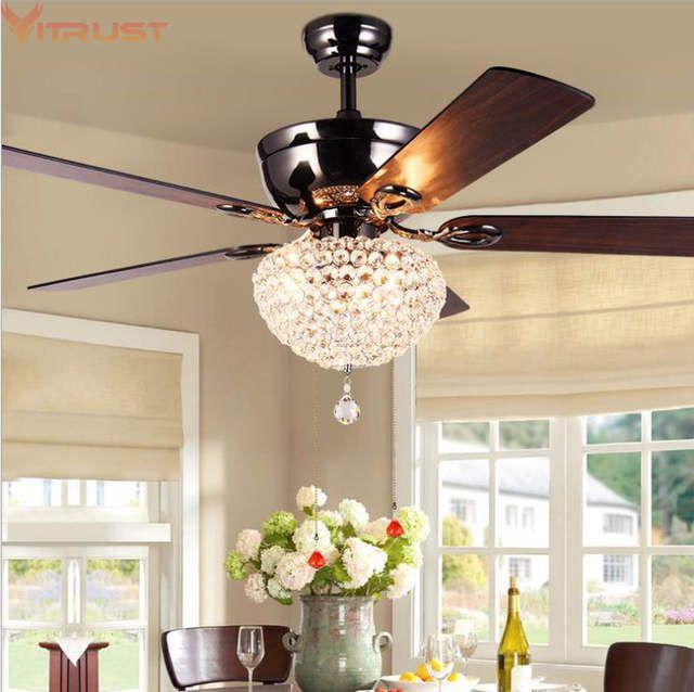 Online Shop Modern Led Ceiling Fan Lights Dining Room Living Bedroom Wood Crystal Lamp Rem Ceiling Fan Light Fixtures Ceiling Fan With Light Fan Light Fixtures