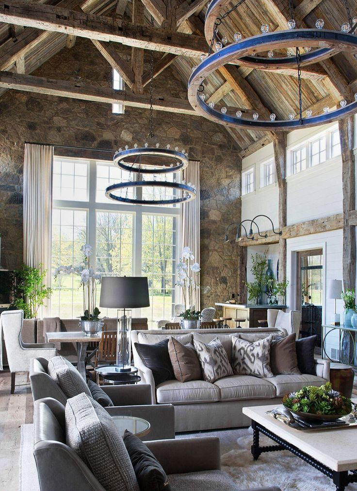 Beautiful Mediterranean style grey and beige living room ...