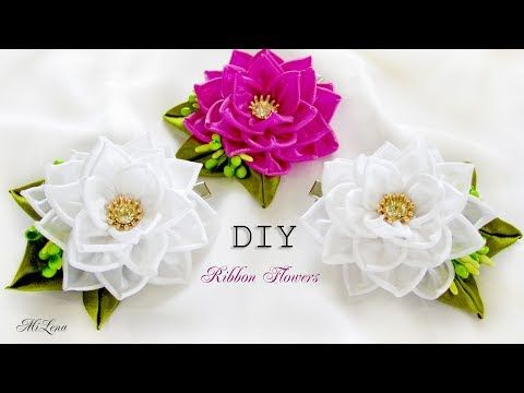 ЗАЖИМЫ С ЦВЕТАМИ, МК / DIY KANZASHI FLOWERS HAIR CLIP - YouTube