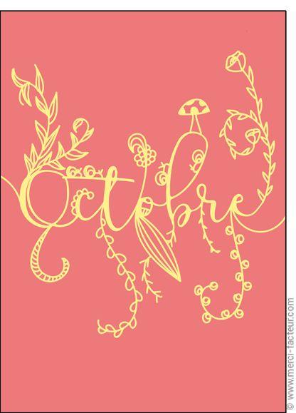 #illustration #couleur #autumn #leaves #color #plantes #café #cards #snail #autumn #plants #leaves #mushroom #coffee  Carte #Lettres d'octobre pour envoyer par La Poste, sur Merci-Facteur !