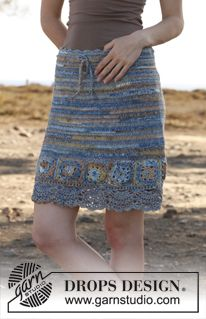 """Crochet DROPS skirt with squares in """"Fabel"""". Size: S – XXXL. ~ DROPS Design"""