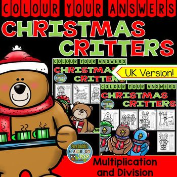 """Ten Christmas Critters Colour Your Answers Advance Multiplication and Division Bundle, Answer Keys Included. This math resource includes: * Five Two Digit By Two Digit Multiplication Colour By Number Printables * Five Divide By Two Digits Division {With and Without Remainders} Colour By Number Printables * Ten Answer Keys that are colour coded and have the exact answer. For example, 52 x 32 = 1,664 and """"blue."""" #FernSmithsClassroomIdeas"""
