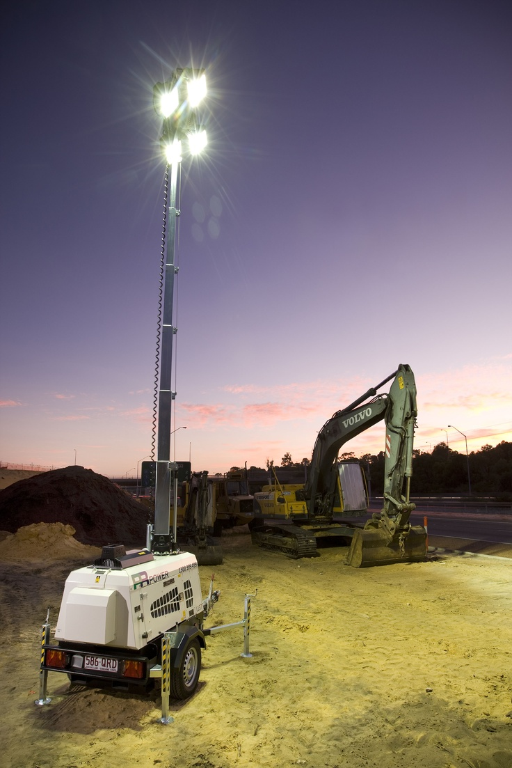 PR Power Mobile Lighting Tower for the construction, civil works, road works, events and industrial industry.