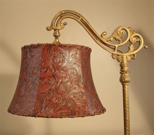 Bridge Floor Lamp Shade Tooled Faux Leather Tailor Made Lampshades | EBay