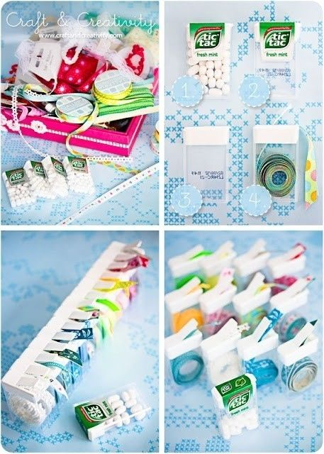 Use Tic Tac containers to organize and dispense narrow ribbon and twine. | 52 Meticulous Organizing Tips For The OCD Person In You