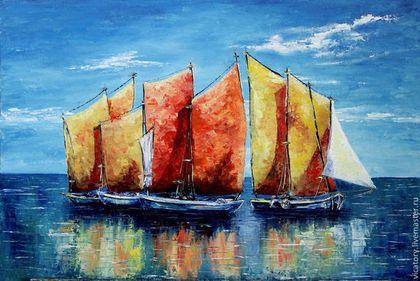 Лодки и оранжевые паруса, Boats and orange sails by Victoria Sokolova, oil, canvas, 40*60, 2014