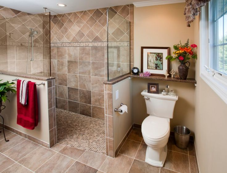 Cozy Spacious Bathroom Ideas for Walk In Showers: Glass Half Wall In Cozy Traditional Bathroom Design With Bathroom Remodel And Tile Floor Also Shower Floor Tile With Toilet Shelf And Walk In Shower Plus Zero Threshold Also Glass Panels For Shower With Toilet Tissue Holder ~ flexform.org Bathroom Design Inspiration
