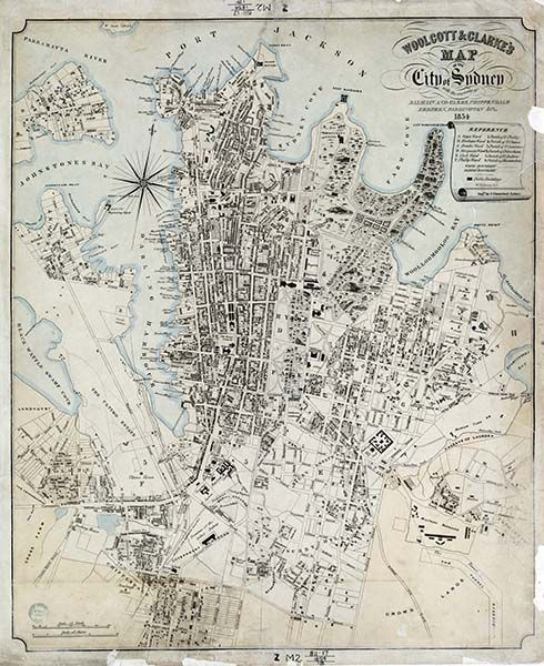 1854 Map of Sydney - A1 or A2 - Old Sydney Maps 'speak absolutely fabulous english' www.polly-glot.com