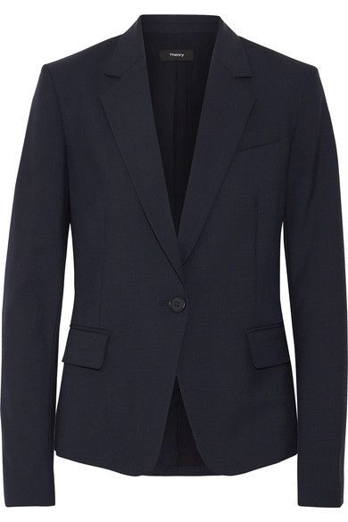Midnight-blue wool-blend crepe Button fastening at front 96% virgin wool, 4% elastane; lining: 82% polyester, 18% spandex Dry clean
