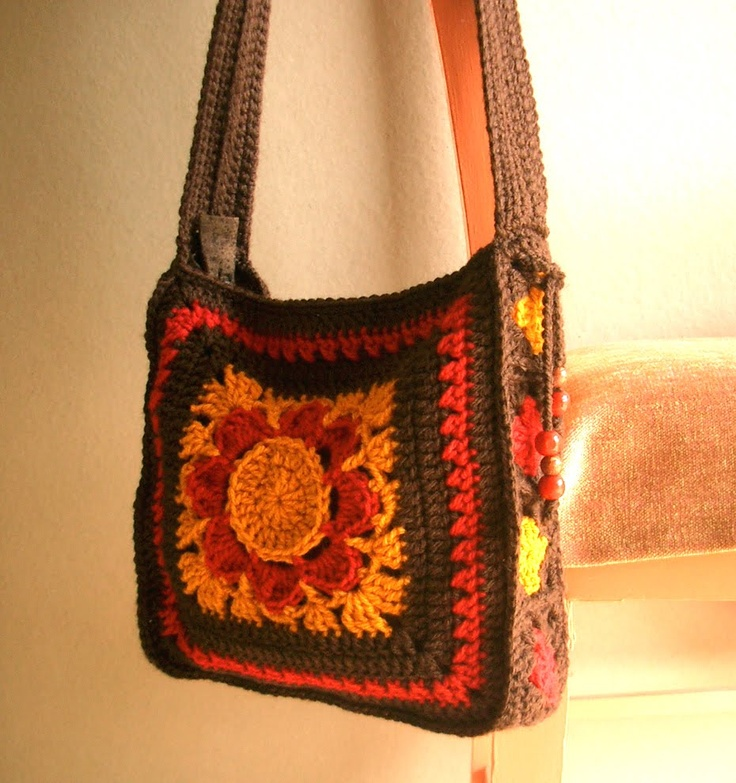 """This """"Large Granny Square Shoulderbag"""" from Groovy Textiles is great. I like the idea of one large square!"""