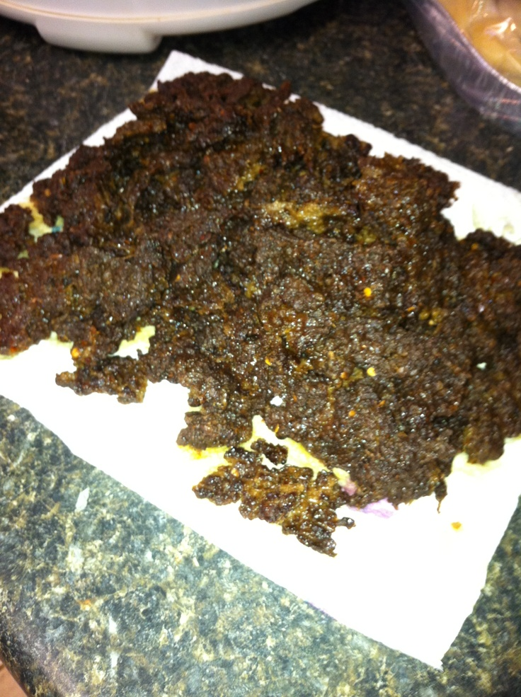 This is my son's favorite beef jerky made out of ground beef. 3lbs ground beef, bottle of hot and spicy Allegro marinade, 1 tsp onion powder, 1 tsp garlic powder and 10 dashes of hot sauce. Mix all ingredients and put in jerky press (or if no press make 1/4 inch strips) place on dehydrator trays and dehydrate. Time depends on you dehydrator, mine is done in 5 hrs.