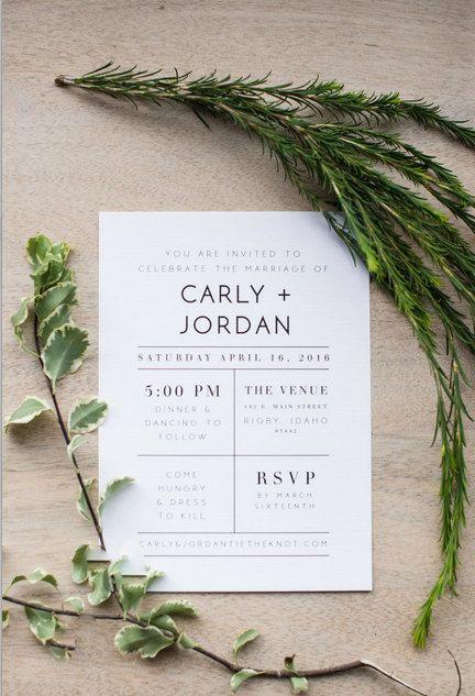 Modern Wedding Invitation Minimalist by ChynnaHansenDesigns